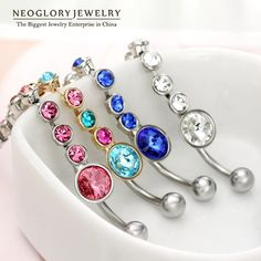 Rhinestone Piercing Belly Button Rings For Women Body Piercing Tragus Nombril Ombligo Navel Fashion Jewelry  Brand