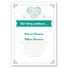 floral heart vow renewal invitation | vow renewal wording at Invitations By Dawn