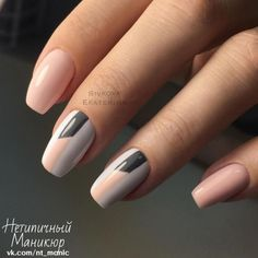 two-tone geometric striping tape accent nails - grey & blush pink over white. - two-tone geometric striping tape accent nails – grey & blush pink over white. Fabulous Nails, Perfect Nails, Cute Nails, Pretty Nails, Hair And Nails, My Nails, Nail Deco, Manicure Y Pedicure, White Manicure