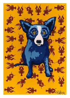 Blue Dog Crawfish by George Rodrigue, New Orleans Blue Dog Art, Blue Art, Blue Dog Painting, Louisiana Art, Dog Cafe, Painting Gallery, Festival Posters, Dog Paintings, Elementary Art