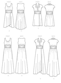 Line Art | McCalls M7350 | Misses' Gathered Scoop Neck or Surplice Dresses | Sewing Pattern | Size 6-8-10-12-14 | For moderate stretch knits only