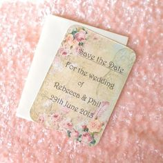 10 x Vintage Style Save the Date Cards  - Shabby Chic Rose  (Ref 63) £4.00