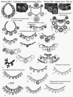 Ожерелья XII -XIII в.: 1 – Каменный Брод Киевской губ.,1903 г., Украина; 2 –…