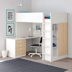 44 Magnificient Ikea Stuva Loft Beds Design Ideas For Your Kids Rooms - The small size of the living area is the major issue for the dorm room decorator. When working with such a compact space, including pieces of furnitur. Room Design Bedroom, Girl Bedroom Designs, Bedroom Ideas, Small Room Design, Bed Design, Stuva Loft Bed, Ikea Stuva Bed, Ikea Loft Bed Hack, Loft Beds For Small Rooms