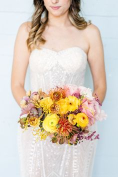 Few things color our hearts more happy than this Pride inspired wedding with so much love at the heart. Jaclyn and Rachel's story is sweet as can be with a Tinder meet-cute (believe it or not!) and two heart-flutteringly beautiful proposals. #pridemonth Protea Bouquet, Pink Bouquet, Succulent Bouquet, Peonies Bouquet, Bride Bouquets, Bridesmaid Bouquet, Boho Wedding Bouquet, Wedding Trends, Wedding Styles