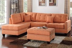 Alcott Hill Romulus Sectional with Ottoman & Reviews | Wayfair Ottoman Sofa, Ottoman Cover, Chaise Sofa, Upholstered Sofa, Shabby Chic Furniture, Living Room Furniture, Home Furniture, Outdoor Furniture, Rustic Furniture