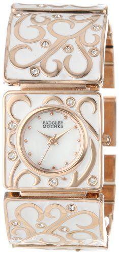 Badgley Mischka Women's BA/1234WMRG Swarovski Crystal Accented Rose Gold-Tone White Enamel Bracelet Watch -