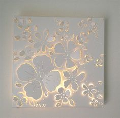Imagini pentru cut out canvas pattern Do with plumerias Try with soft colors. How to decoupage a dresser!View the Gallery of Elite Artistry by Ellie here - Low / Bas Relief Sculptures to relieve stress & create beautiful art - Classes available in Po Diy Wand, Lighted Canvas, Diy Canvas, Canvas Art, Cut Out Canvas, Diy Wall Art, Wall Decor, Art Studio Lighting, Mur Diy