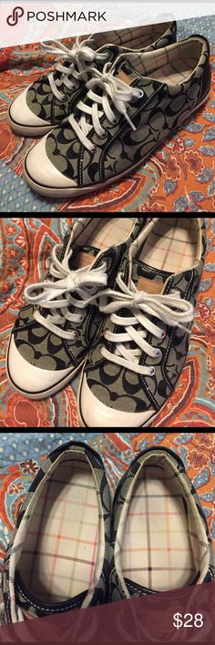 Coach Lace Up Sneakers These sneakers are so comfy! They have been well loved, but only show signs of normal day-to-day wear. Some scuffs throughout bottom edges, faded sole and laces. But no rips or tears! Coach Shoes Sneakers