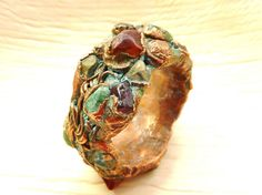 Raw stone ring- electroformed resin and stone ring with various semi precious gemstones and crystals- multi coloured stones