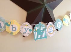 Baby Shower banner with birdcage shabby chic by ThePinkPapermill, $22.50