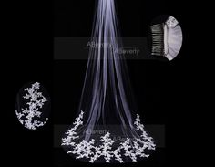 3M Single One Tier White/Ivory Long Cathedral Length Lace Wedding Veil Bridal Veil with Hair Comb by ABoverly1 on Etsy https://www.etsy.com/listing/224642937/3m-single-one-tier-whiteivory-long