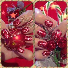 Candy cane nail art idea.