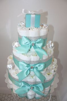 Beautiful Tiffany Blue Girls 3-tier Diaper Cake by JacquesCoutureCakes on Etsy