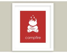 Campfire Art Outdoors Nursery Camp Decor Camping by twowhiteowls