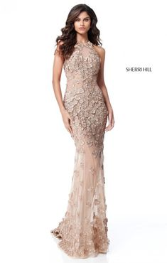 e3a373e2668c This Sherri Hill 51660 gold formal dress is embellished all over with  floral appliques on soft net, with a high halter neckline and a lower back  cutout.