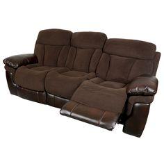 Sofa BedSleeper Sofa Porter Buck Chocolate Microfiber and Faux Leather Dual Reclining Sofa