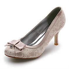 Lace/ Satin Upper Stiletto Heel Closed Toe With Lace Wedding Bridal Shoes