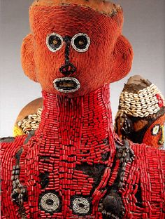 Africa | Detail from a Royal Commemorative Group Statue of Kamwa Mars De Baham.  | Baham Kingdom, Cameroon | Wood, cloth, cowrie shells and glass beads | ca. 19th/20th century