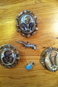 Mourning, hair, and picture swivel brooches