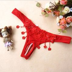 Hot Sexy Hollow Lace Pearl Embellishment Slit-bottom T-back Gstring Lingerie Underwear for Ladies - Red $6.99