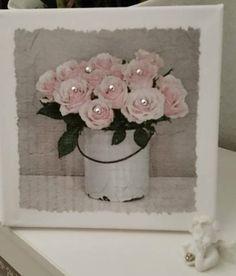 Luxury  Bild Shabby Landhaus Vintage Romantik Rosen Leinwand Deko