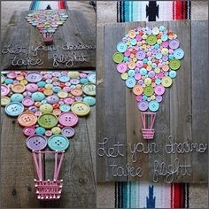 Heißluftballon-Kinderzimmer-Dusche durch NailedItCustomCrafts: Hot Air Balloon Nursery Shower by NailedItCustomCrafts: Balloon iDeen 🎈 # Hot air balloon nursery shower shower ideas for a boy Fun Crafts, Diy And Crafts, Wood Signs Home Decor, Creation Deco, Ideias Diy, Baby Shower Balloons, Playroom Decor, Button Art, Little Girl Rooms
