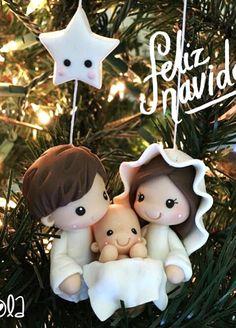 Nacimiento Nativity Ornaments, Nativity Crafts, Clay Ornaments, Christmas Nativity, Christmas Crafts, Christmas Decorations, Christmas Ornaments, Polymer Clay Christmas, Polymer Clay Crafts