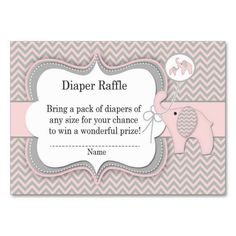 Elephant Baby Raffle Chevron Print Large Business Cards (Pack Of This is a fully customizable business card and available on several paper types for your needs. You can upload your own image or use the image as is. Just click this template to get started! Baby Shower Ganes, Business Card Size, Business Cards, Pack Of Diapers, Diaper Raffle Tickets, Pink Elephant, Paper Products, Elephants, Bakery Packaging