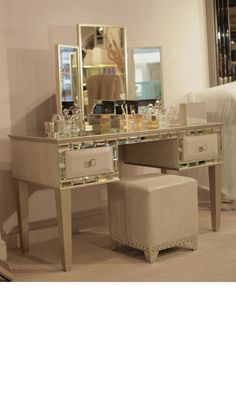 Dressing Tables, Luxury Designer Tiffany Mirror & Ivory Leather Dressing Table, so glamorous, one of over 3,000 limited production interior design inspirations inc, furniture, lighting, mirrors, home accents, accessories, decor and gift ideas to enjoy repin and share at InStyle Decor Beverly Hills Hollywood Luxury Home Decor enjoy & happy pinning