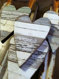 weathered wood hearts: good idea for reuse if i have to remove the old painted oak in my mudroom