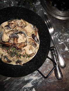 handmade gnocchi with mushrooms sauce