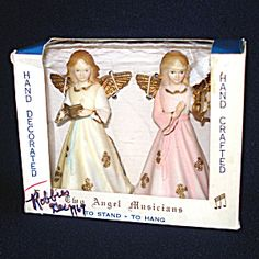 1960s Hard Plastic Christmas Angel Figure Ornaments In Box