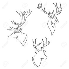 One line design silhouette of deer. Set of heads of stags. Hand drawn single continuous line minimalism style vector illustration Stock Vector - 132810117 Reindeer Tattoo, Reindeer Drawing, Angel Drawing, Line Drawing, Deer Head Tattoo, Deer Vector, Deer Illustration, Ink Doodles, Christmas Card Crafts