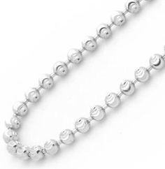 14K White Gold 2.5mm Diamond Cut Ball Chain Necklace 22 Inches.  #necklace #jewelry