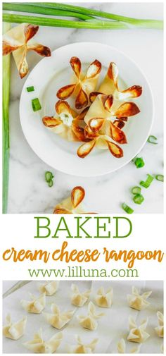 These delicious Cream Cheese Rangoons are filled with cream cheese, garlic, and green onions, then baked to crisp perfection! #creamcheeserangoon #creamcheese #rangoon #appetizers #chinesefood Best Appetizer Recipes, Yummy Appetizers, Bread Appetizers, Yummy Healthy Snacks, Entree Recipes, Appetizers For Party, Side Dish Recipes, Asian Recipes, Cooking Recipes
