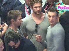 Chris Evans, Chris Hemsworth and Jeremy Renner