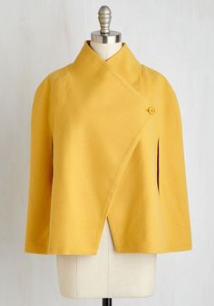 Jack by BB Dakota Talk of the Uptown Cape in Goldenrod | Mod Retro Vintage Jackets | ModCloth.com