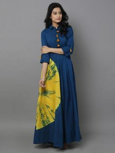 It's a blue cotton dress with big bandhani dye on the side. Kurta Designs, Blouse Designs, Indian Dresses, Indian Outfits, Cotton Dresses Online, Dress Online, Casual Dresses, Fashion Dresses, Look Short