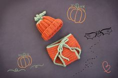 Newborn Baby Pumpkin  Beanie & Diaper Set -Thanksgiving Babies -  Beautiful Photo Prop - Baby Girl - Baby Boy - Halloween Costume - Gift. $40.00, via Etsy.