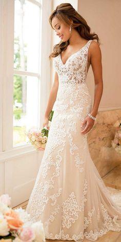 Stella York v neck lace wedding dress for 2018 #weddingdresses #weddingdress #laceweddingdress #vintageweddingdress #bohoweddingdress #laceweddingdresses