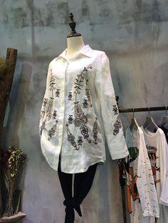 Vintage Style Folk Embroidery Casual Blouse Womans Linen Blouse    #blouse #embroidery #linen #white #shirt #vintage #retro #top #wholesale #retail