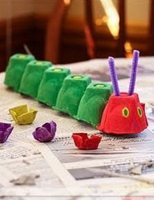 The Very Hungry Caterpillar Egg Carton Craft--perfect for our Eric Carle week at homeschool.