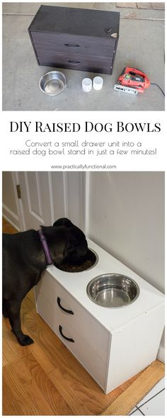 Create a DIY raised dog bowl stand from an old dresser in just a few minutes!