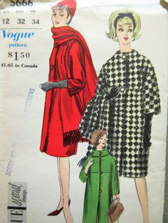 Vintage Vogue 5666 Sewing Pattern, 1960s Coat pattern, Barrel Coat, 1960s Sewing Pattern, Bust 32, Mod Coat Pattern, Three Quarter Sleeves by sewbettyanddot on Etsy