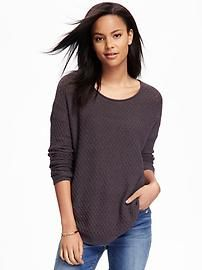 Textured Curved Hem Pullover for Women | Old Navy