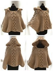 Crochet this chunky and warm poncho with decorative twist cable design and cosy hood. Perfect for chilly days or nights.