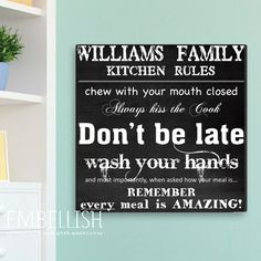 Family Kitchen Rules Canvas, Personalized