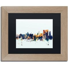 Trademark Fine Art Calcutta India Skyline Blue Canvas Art by Michael Tompsett, Black Matte, Birch Frame, Size: 16 x 20, Multicolor