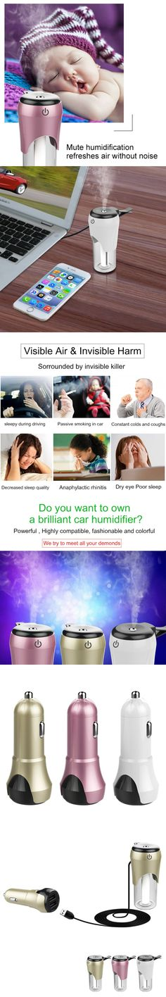 5V/3.1A Portable Anti Dry Cleaner Car Freshener Mini Air Humidifier Diffuser Essential Oil Mist Purifier Without Noise